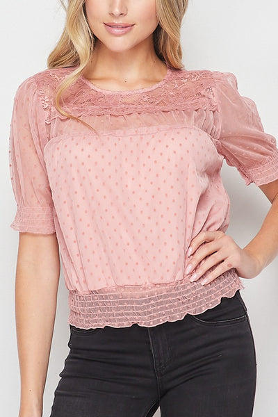 Relaxed Sheer Dot Mesh Smocked Ruffled Short Sleeve Blouse Top