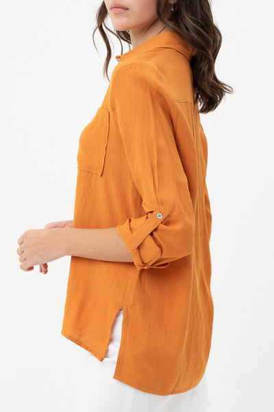 Casual Relaxed Fit Button Up Hi Low Hem Shirt Top