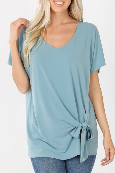 Casual Loose Fit V Neck Front Side Self Tie Short Sleeve Tunic Top