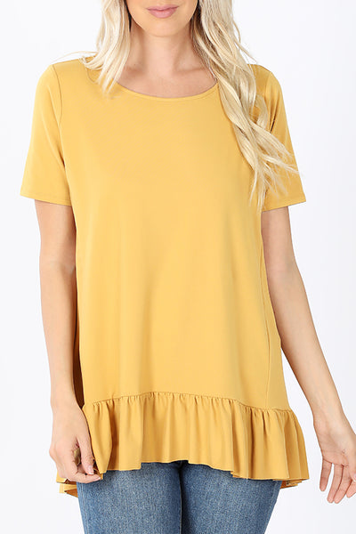 Round Neck Short Sleeve Ruffle Hi Low Hem Tunic Top