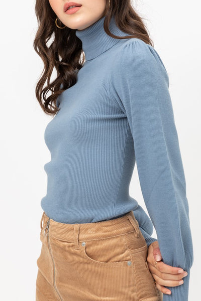 Fitted Ribbed Turtleneck Puff Sleeve Sweater Top