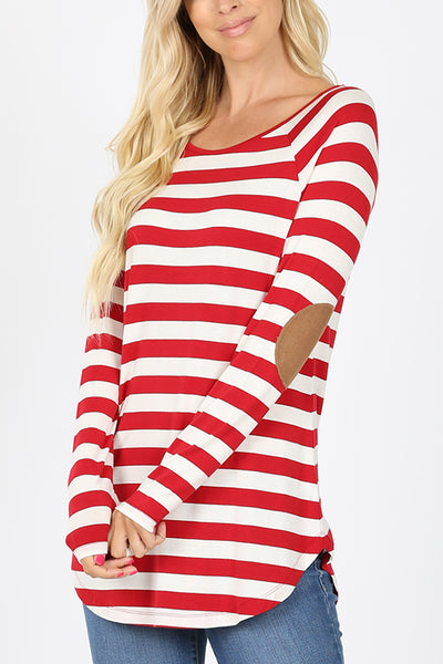 Striped Boat Neck Long Sleeve Shirt Top with Suede Elbow Patches