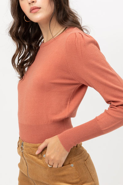 Casual Round Neck Ribbed Long Sleeve Soft Knit Top