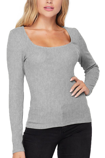 Fitted Ribbed Square Neck Long Sleeve Top