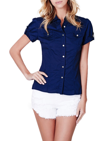 LE3NO Womens Cotton Short Sleeve Button Down Shirt