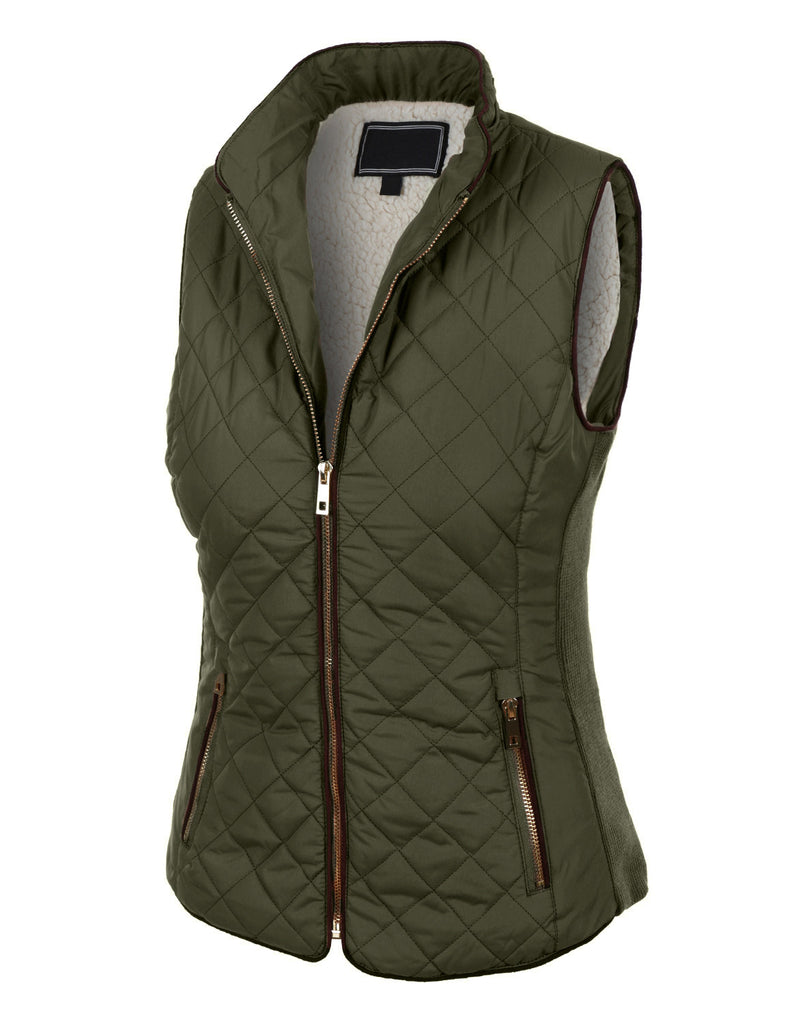 LE3NO Womens Lightweight Quilted Puffer Jacket Vest with ...