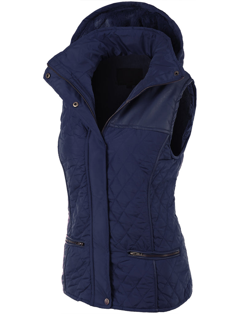 9f4d85ce0ad LE3NO Womens Faux Fur Quilted Puffer Jacket Vest with Detachable Hoodie ·  NAVY ...