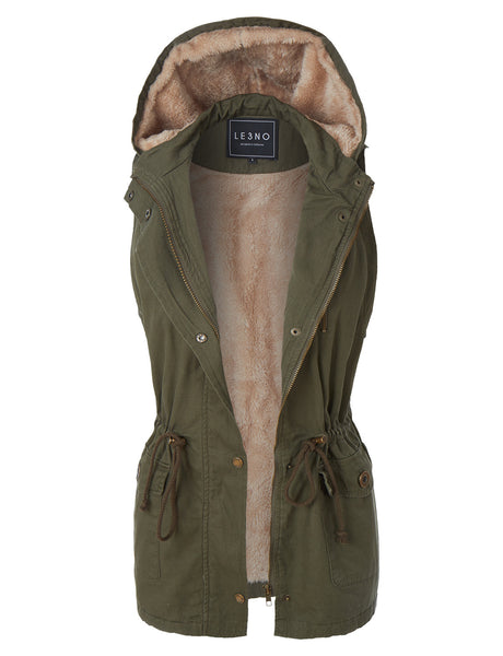 Faux Fur Anorak Military Hoodie Vest with Pockets (CLEARANCE)