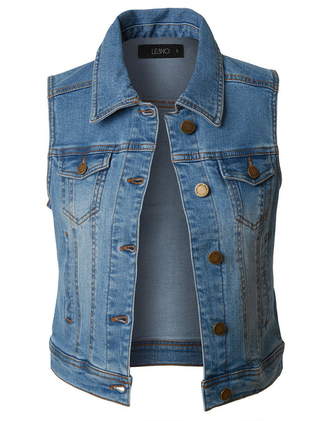 Womens Vintage Distressed Sleeveless Cropped Denim Vest