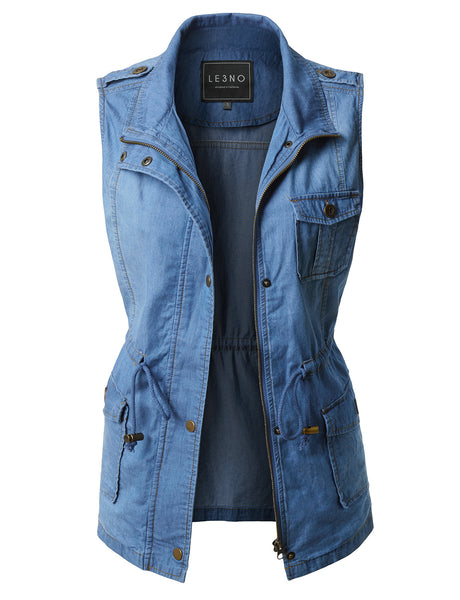 LE3NO Womens Lightweight Sleeveless Denim Anorak Military Vest with Waist Drawstring