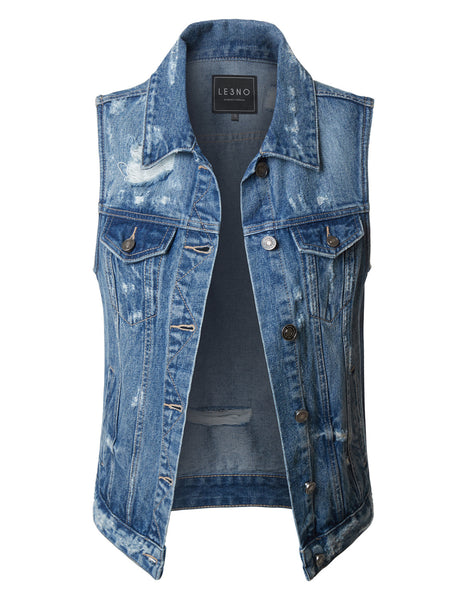 Vintage Distressed Ripped Sleeveless Denim Vest