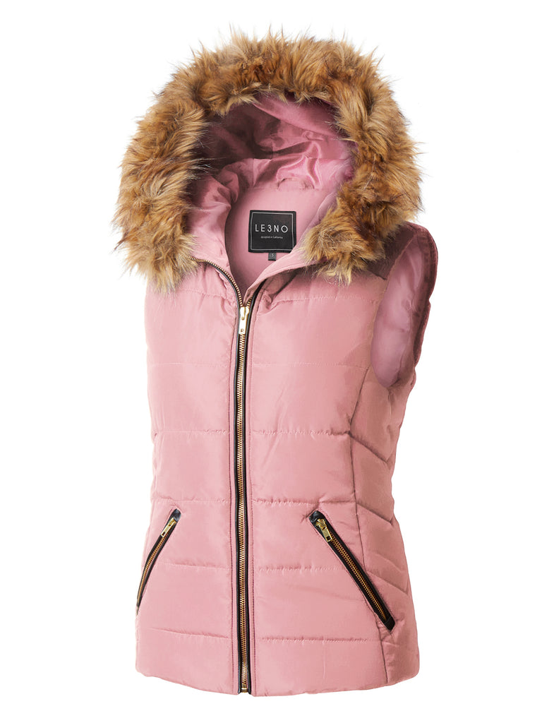 aea6b425695f6 LE3NO Womens Fully Lined Quilted Puffer Sleeveless Vest with Faux Fur Hoodie  · MAUVE ...