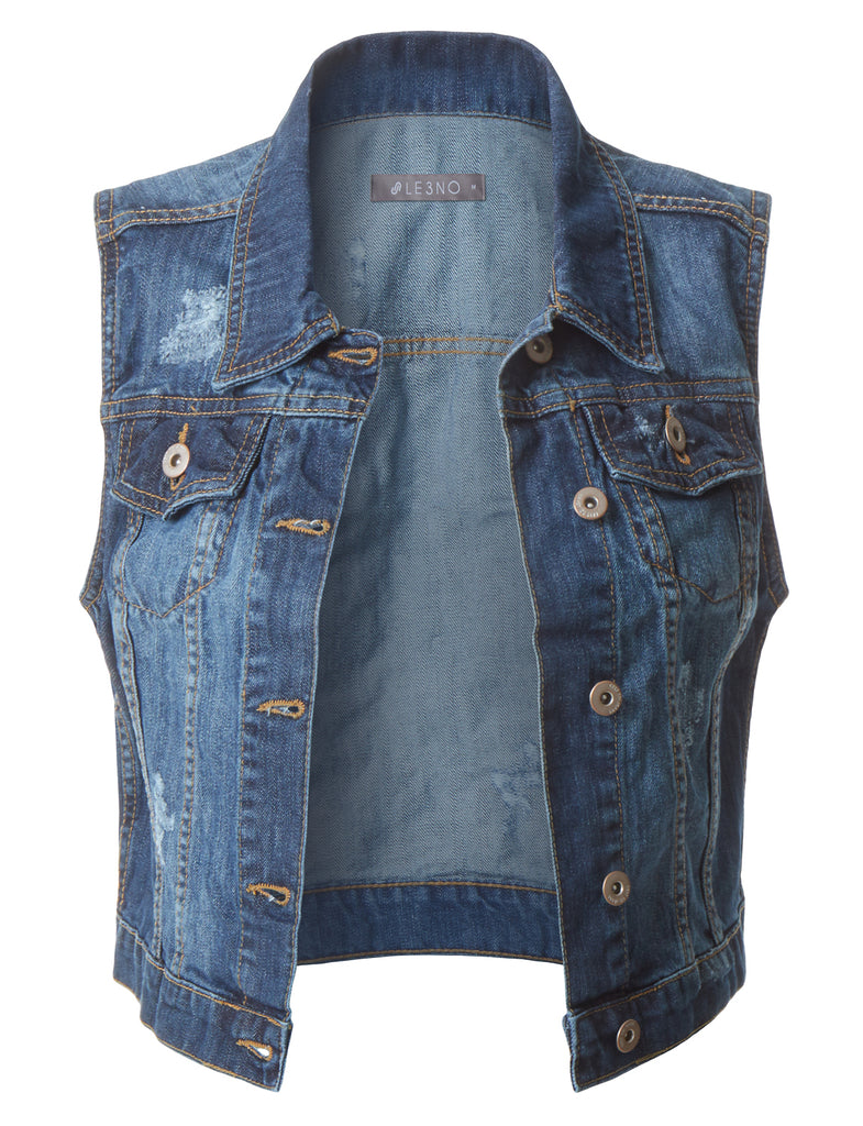 7d6a00d6405 Fitted Cropped Denim Vest Jacket with Pockets | LE3NO