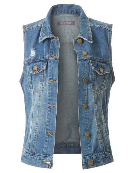 Fitted Distressed Cropped Denim Vest Jacket with Pockets