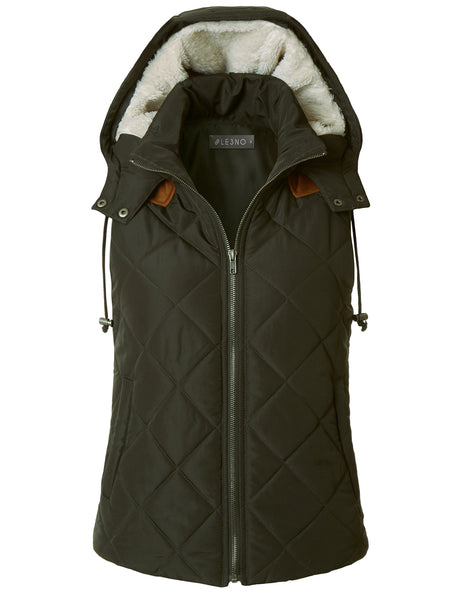 Lightweight Fully Lined Quilted Puffer Vest with Fleece Hoodie