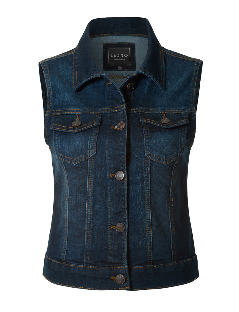 dbc2db610672f2 LE3NO Womens Fitted Washed Button Down Denim Vest Jacket with Chest Pockets  · DARK ...