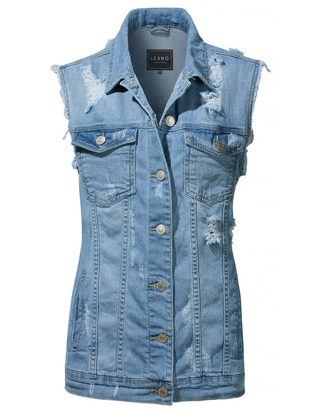 LE3NO Womens Oversized Distressed Ripped Sleeveless Denim Vest with Pockets