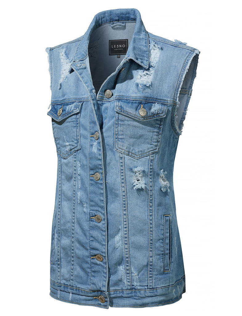 e50c28e8ea LE3NO Womens Oversized Distressed Ripped Sleeveless Denim Vest with Pockets