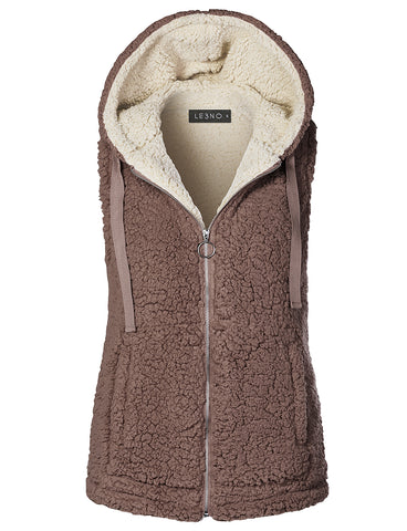 2a5e038a493b4 LE3NO Womens Winter Fuzzy Fleece Sleeveless Zip Up Hoodie Vest Jacket with  Pockets