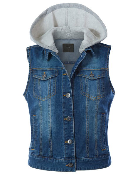 Vintage Cotton Sleeveless  Button Down  Denim Jean Jacket Vest