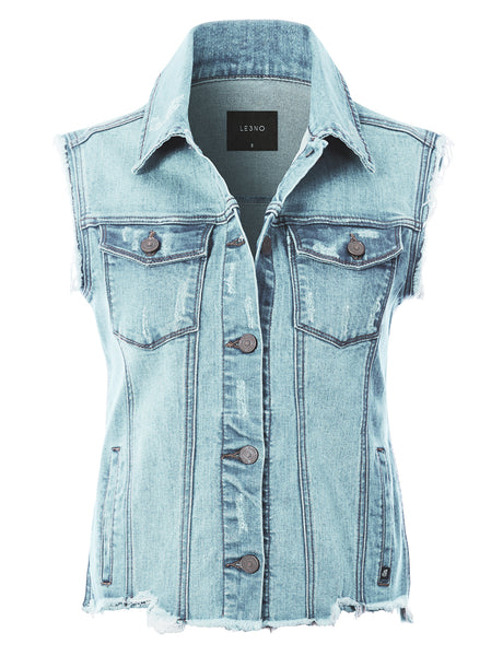 Basic Distressed Frayed Sleeveless Button Up Denim Vest with Welt Pockets