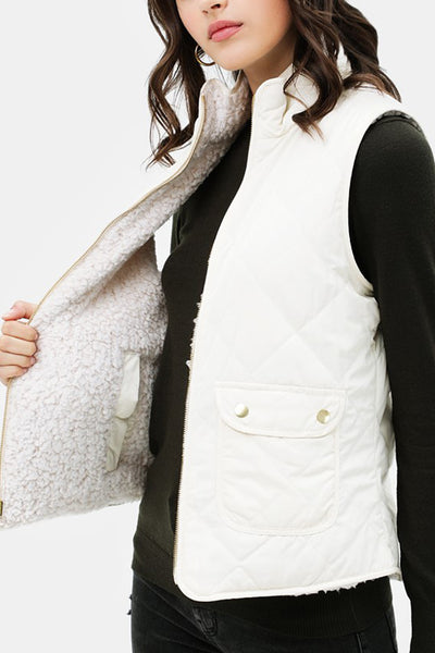 Reversible Sherpa Padded Puffer Vest with Pockets