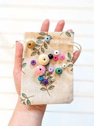 Wooden Bead Collection + Leaf Drawstring Bag