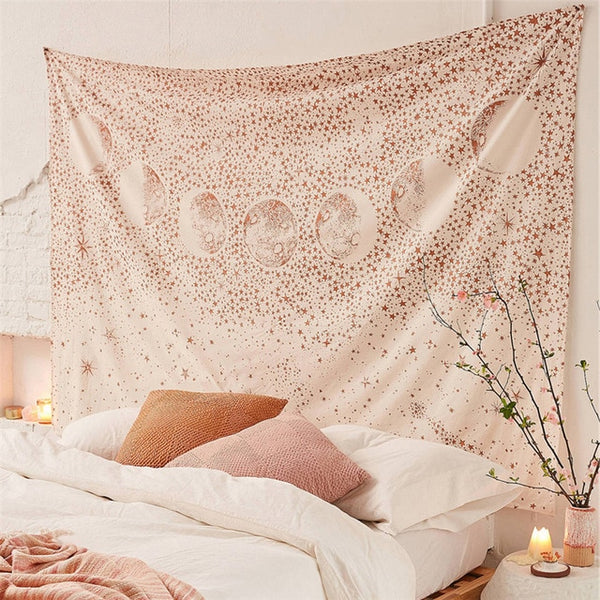 Pink Starry Sky Wall Carpet Tapestry Wall Hanging Moon Hippie Psychedelic Tapestry Mandala Floral Boho Decor Yoga Beach Blanket