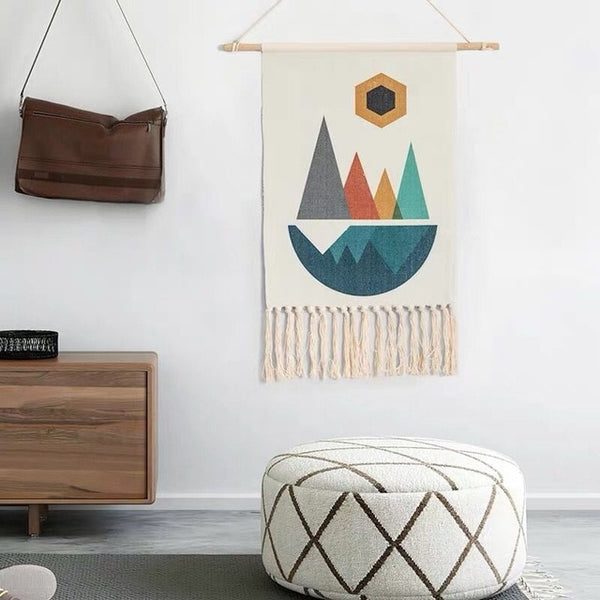 Hand-woven Homestay Boho Tassel Tapestry Wall Hanging Decoration Nordic Bohemian Room Geometric Tapestry Dorm Room Decoration