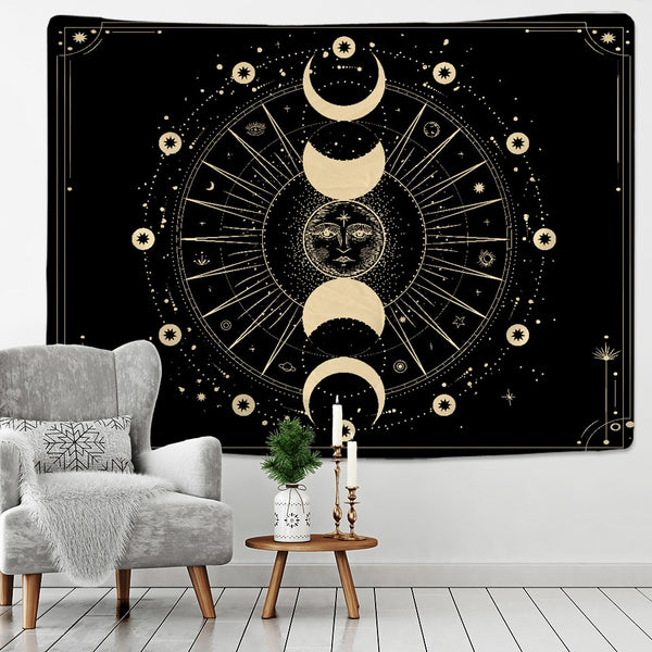 Golden Sun Moon Tapestry Wall Hanging Indian Mandala Boho Printed Psychedelic Tapiz Witchcraft Wall Cloth Tapestries