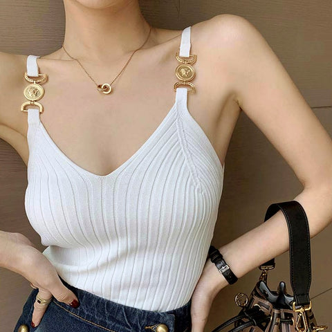V-neck Halter Sexy Camisole Top 2020 Summer Women Sexy off-Shoulder Solid Color Sleeveless Camis Women's Clothing Tanks Tops