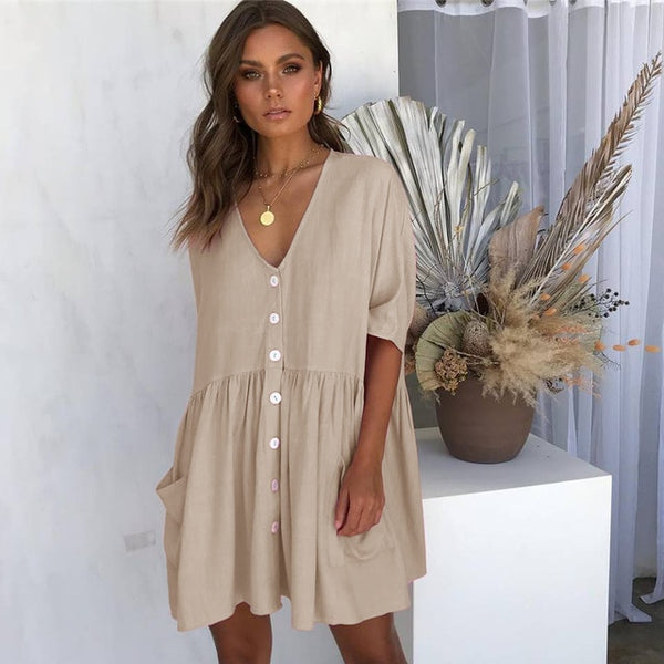 Tilly - V-Neck Pocket Button Dress