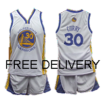 KIDS NBA GOLDEN STATE WARRIORS CURRY WHITE UNIFORMS - Free Delivery