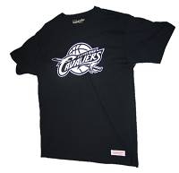 CLEVELAND Cavaliers Black T-Shirt with White Team Logo