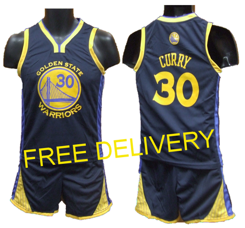 KIDS NBA GOLDEN STATE WARRIORS CURRY NAVY UNIFORMS - Free Delivery