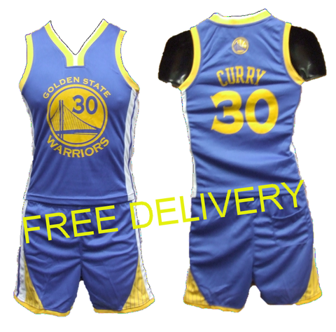 KIDS NBA GOLDEN STATE WARRIORS CURRY BLUE UNIFORMS - Free Delivery