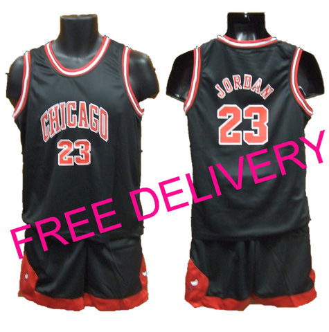 KIDS NBA CHICAGO BULLS Black Jordan PLAYER UNIFORMS - Free Delivery