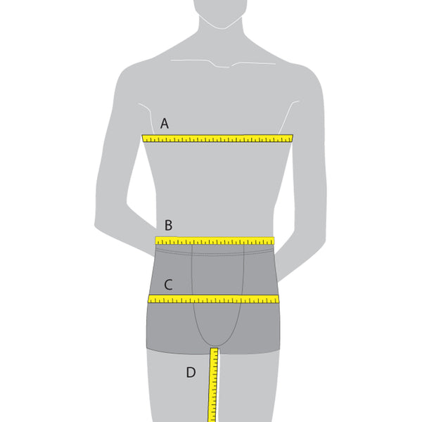 Male size model with dimension labels for Sequins Plus clothing size chart