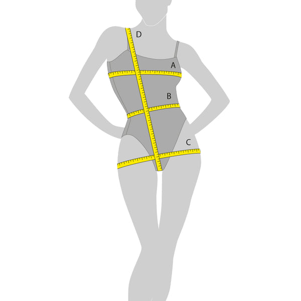 Female size model with dimension labels for Sequins Plus clothing size chart