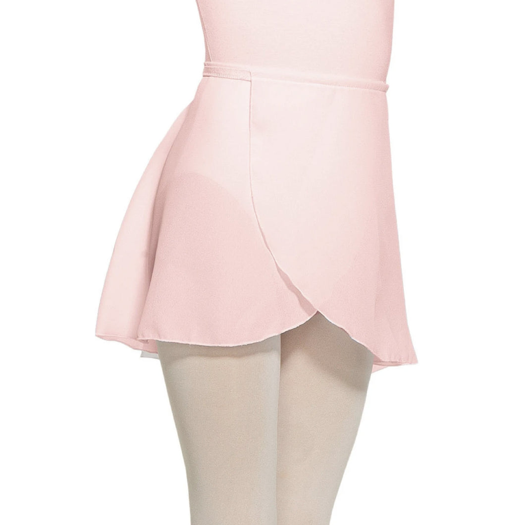 Female model wearing MONDOR Royal Academy Of Dance Chiffon Skirt, style 016100, colour true pink, close up front view.