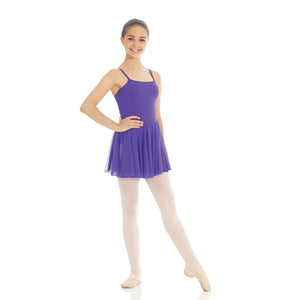 Female model wearing MONDOR RAD Mesh Pull On Skirt, style 016103, colour purple.