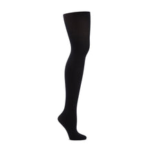 Load image into Gallery viewer, Product image of CAPEZIO Seamless Ultra Soft Footed Tight, style 1915, colour black, side view.