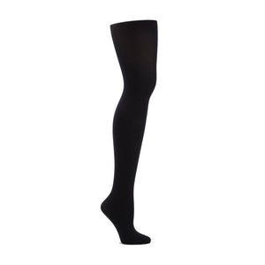 Product image of CAPEZIO Seamless Ultra Soft Footed Tight, style 1915, colour black, side view.