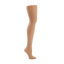 Load image into Gallery viewer, Product image of CAPEZIO Seamless Ultra Soft Footed Tight, style 1915, colour caramel, side view.