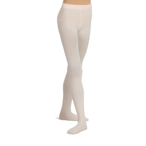 Female model wearing CAPEZIO Seamless Ultra Soft Footed Tight, style 1915, colour light pink.