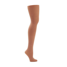 Load image into Gallery viewer, Product image of CAPEZIO Seamless Ultra Soft Footed Tight, style 1915, colour suntan, side view.
