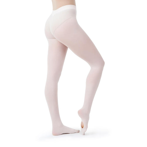 Female model wearing CAPEZIO Ultra Soft Transition Tight, style 1916, colour light pink.
