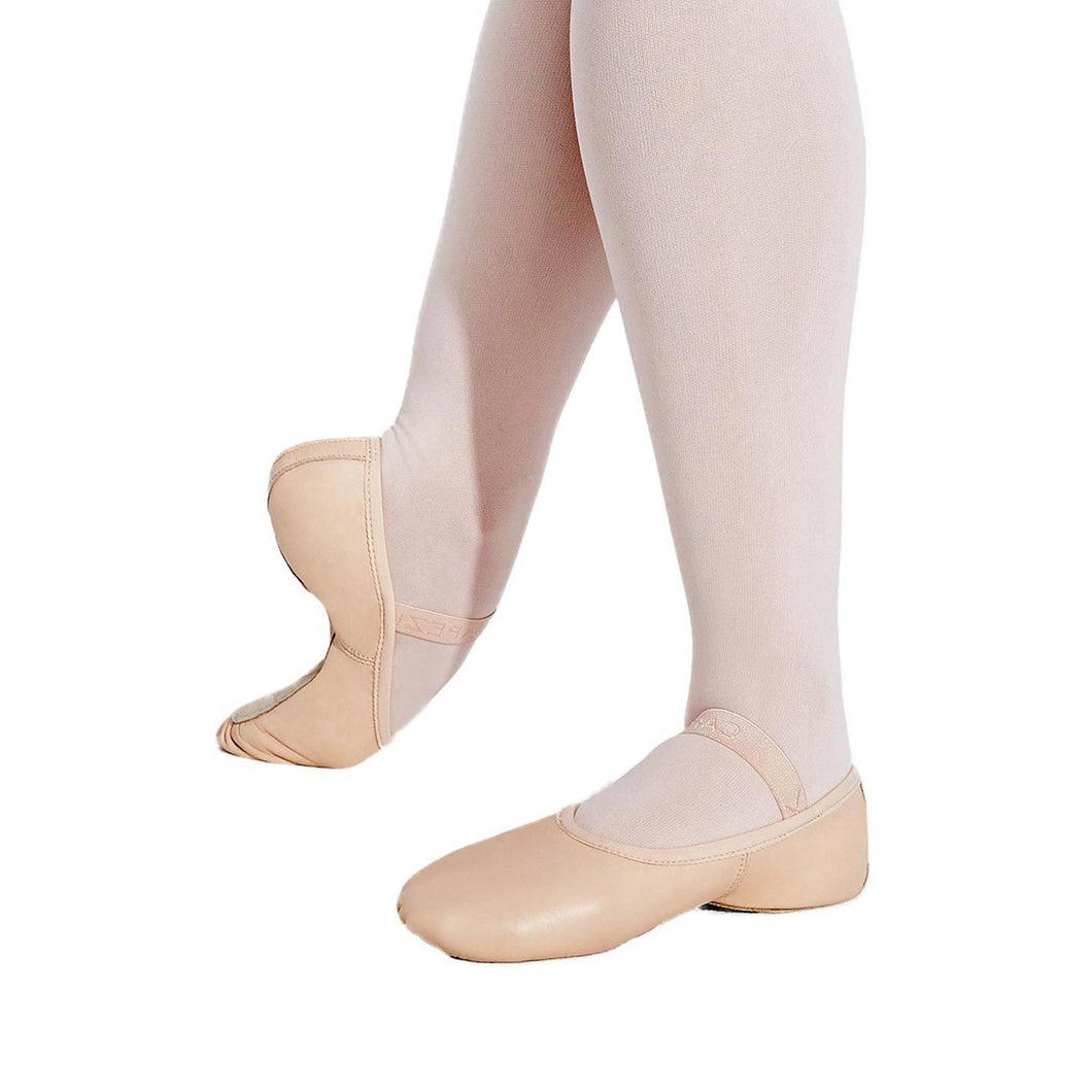 Female model wearing Capezio Lily Ballet Shoe, style 212W, colour ballet pink.