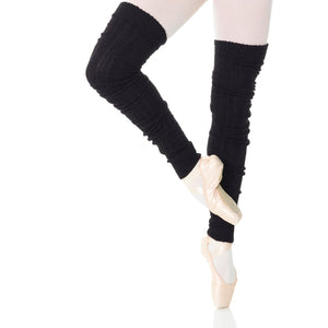 "Female model wearing MONDOR 36"" Legwarmers, style 254, colour Black-52."