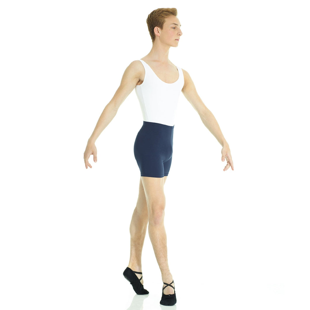 Male model wearing Mondor Matrix Short, style 3537, color navy, front view.